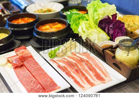 Korean cuisine barbecue grill meat and vegetables. Korean food.