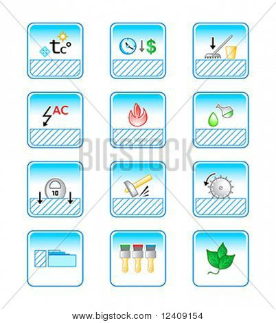 vector icon set for special characteristic of floor coverings