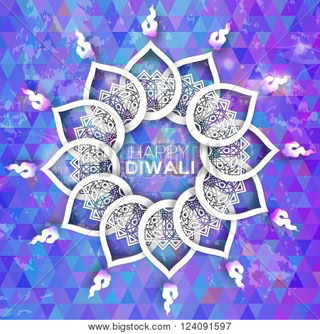 Blue Purple Decorative Paper Diwali Diya - Oil Lamp Design. Origami Vector illustration