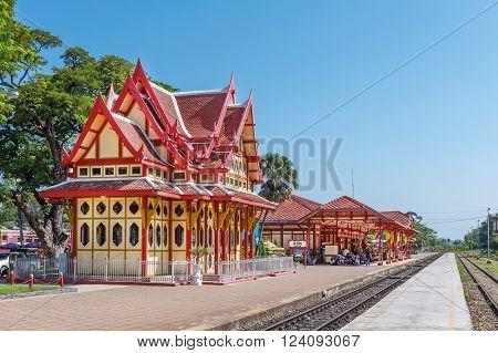 HUA HIN , THAILAND - FEBRUARY 8 , 2012 : Hua Hin Railway station is a major tourist attraction of Hua Hin, Prachuap Khiri Khan, on February 8, 2012.