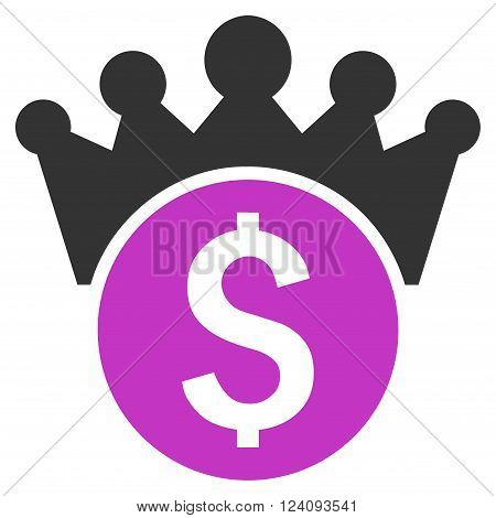 Financial Power vector icon. Style is flat symbol, violet color, white background.