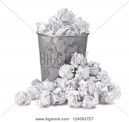 No idea - Crumpled paper can recycle was thrown to metal basket bin. Overflowing waste paper in office garbage bin. Junk wastepaper in rubbish isolated on white background with clip path poster