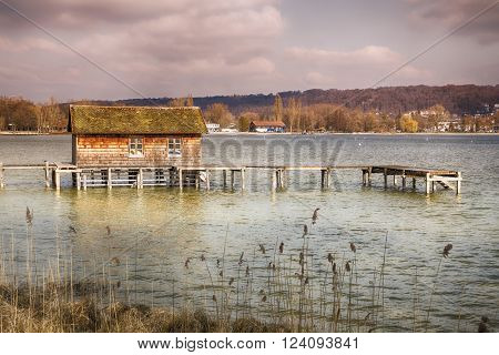 An image of a hut in the lake Ammersee Bavaria