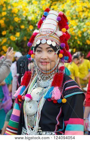 Chiang Rai, Thailand - November 14, 2015 : Tribal Traditions Festival Mexican Sunflower Blossom At B