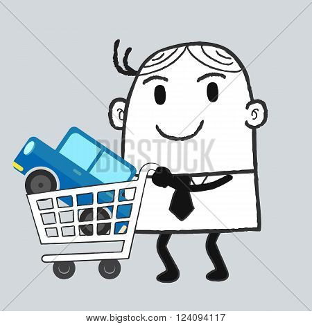Businessman and car shopping , blue car and cart