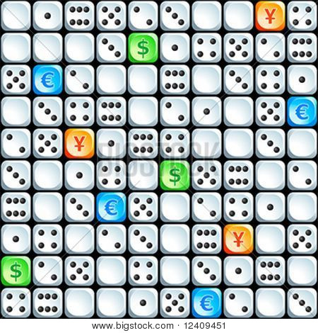Seamless dices pattern with additional dollar, eur and yen ones