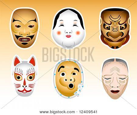 Traditional japanese theater masks - ayakashi, okame, obeshimi, kitsune, hyottoko, uba