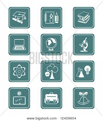 School and college education objects, tools and science symbols vector icon set.