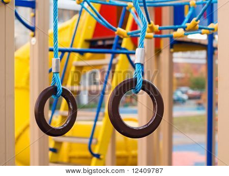 Gymnastic rings at the new city kids playground