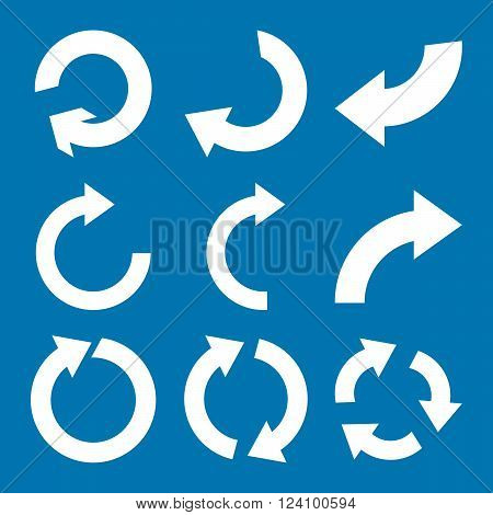 Rotate Clockwise vector icon set. Collection style is white flat symbols on a blue background. Rotate Clockwise icons.