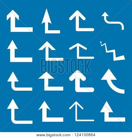 Turn Forward vector icon set. Collection style is white flat symbols on a blue background. Turn Forward icons.