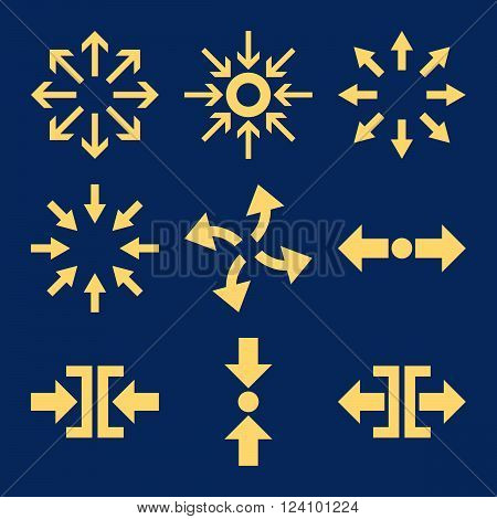 Compress and Explode Arrows vector icon set. Collection style is yellow flat symbols on a blue background. Compress And Explode Arrows icons.