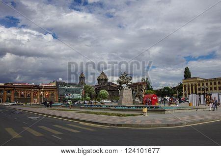 Gyumri   Armenia - September 17, 2013: Main Square with Yot Verk church Armenia