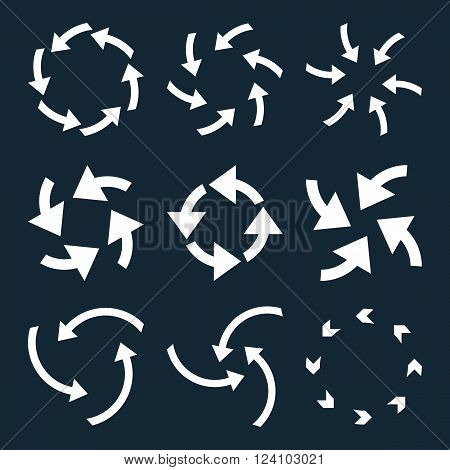 Cyclone Arrows vector icon set. Collection style is white flat symbols on a dark blue background. Cyclone Arrows icons.