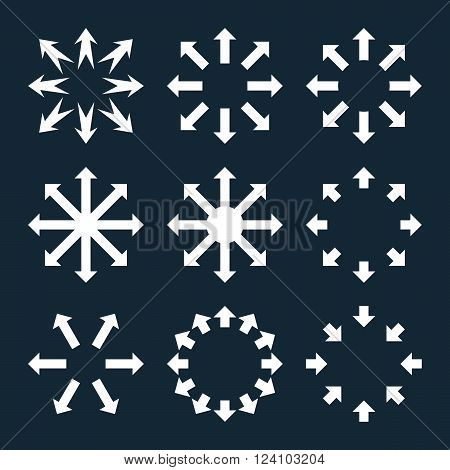 Maximize Arrows vector icon set. Collection style is white flat symbols on a dark blue background. Maximize Arrows icons.