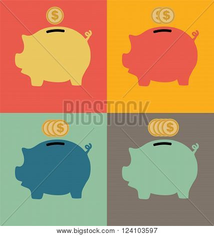 Colorful Piggy Bank Icon on color background