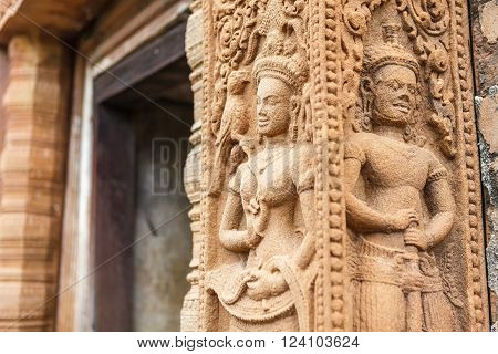 Relief carved stone of ancient Buddhist cosmology. Thailand.