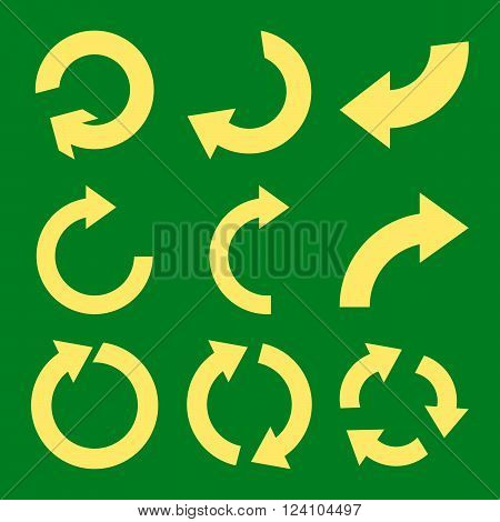 Rotate Clockwise vector icon set. Collection style is yellow flat symbols on a green background. Rotate Clockwise icons.