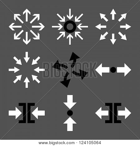 Compress and Explode Arrows vector icon set. Collection style is bicolor black and white flat symbols on a gray background. Compress And Explode Arrows icons.