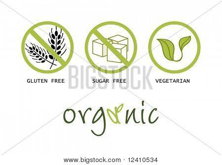 Healthy food symbols - gluten free, sugar free, organic and vegetarian