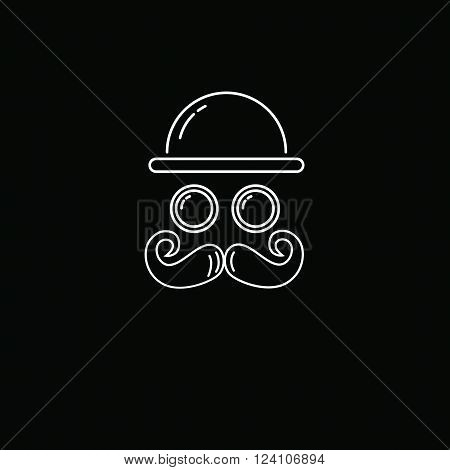contour image with a mustache hipster glasses willows hat on a black background