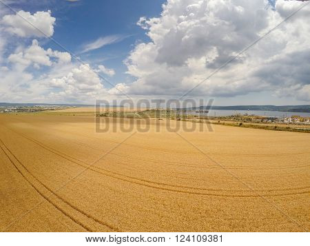 Areal view of crop fields in sunny summer day ** Note: Soft Focus at 100%, best at smaller sizes