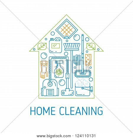 Modern clean linear style. Cleaning equipment and appliance design elements. For web, banners, blogs, poster, app