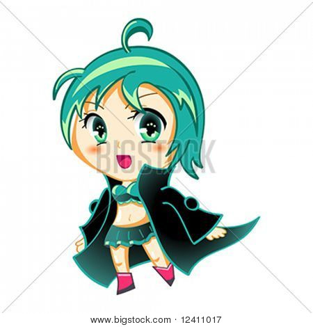 Cute anime chibi girl in space traveler coat