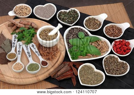 Herbs and spices used in natural alternative herbal medicine for men. Selective focus.