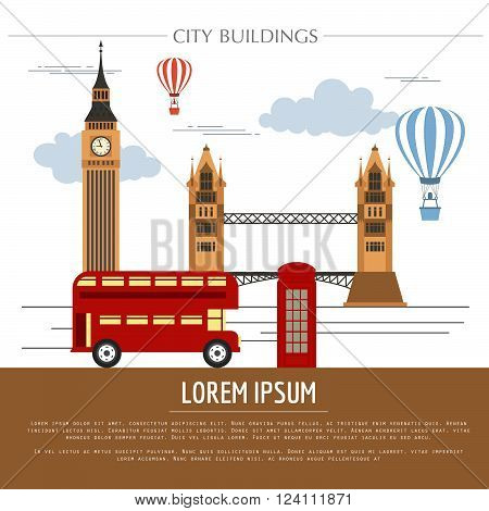 City buildings graphic template. UK. London. Vector illustration