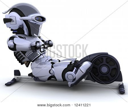 3D render of a robot on a rowing machine