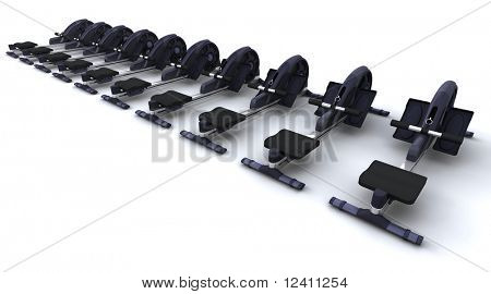 3D render of rowing machines isolated on white