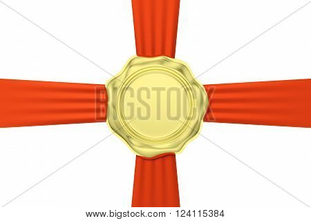 Gold Wax Seal On Red Ribbon Cross Isolated On White