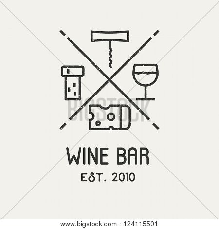 Wine logo with cheese, corckscrew, glass and grape leaf. Vector logo.