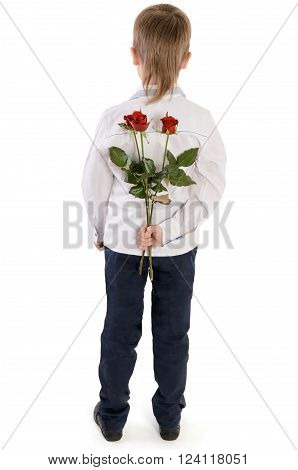 Young Boy Holding A Roses Behind Back Isolated On White Background