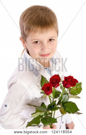Young Boy With A Roses  Isolated On White Background