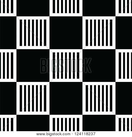 black seamless pattern with white abstract  square