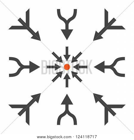 Merge Arrows vector icon set. Collection style is bicolor orange and gray flat symbols on a white background. Merge Arrows icons.
