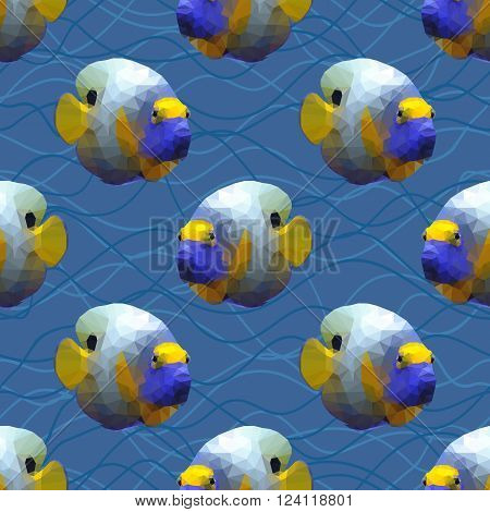 Seamless pattern with polygonal angelfishes. Triangle low polygon style. Endless backdrop with colorful blue and yellow angel fishes on deep blue sea background with waves.