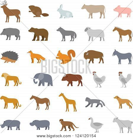 Vector set flat domestic animals. Modern collection flat wild animals. Line property insurance and accident insurance.