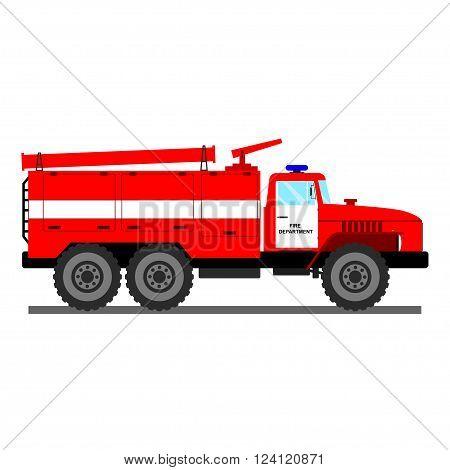Fire car vector illustration. Fire truck isolated on white. Fire rescue truck. Vector rescue fire truck. Red fire rescue car with white stripe. Vector cartoon fire truck.