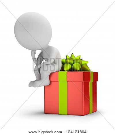 3d small person sitting on the gift in a pensive pose. 3d image. White background.