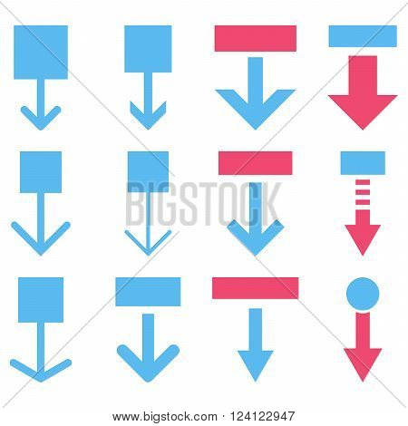 Pull Down vector icon set. Collection style is bicolor pink and blue flat symbols on a white background. Pull Down icons.