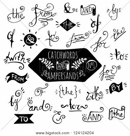 Big set number 1 of handdrawn ampersands and catchwords on white background. Design elements for banner, card, invitation, label, postcard, vignette, label, poster, emblem etc. Vector illustration.