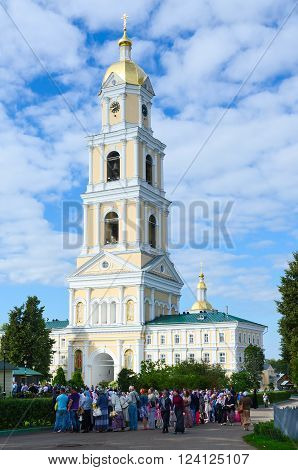 DIVEEVO RUSSIA - AUGUST 22 2015: Pilgrims come to venerate the relics of St. Seraphim of Sarov in the Holy Trinity Seraphim-Diveevo monastery in Diveevo Russia