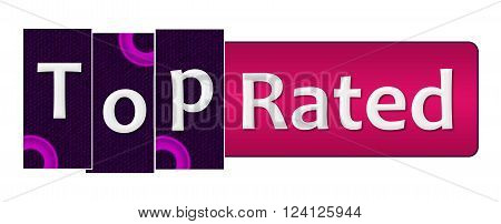 Top rated text written over purple pink background.