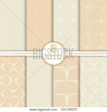 Set of art deco seamless patterns. Stylish modern geometric textures. Repeating polygonal shapes lines rhombuses scales arcs. Vector seamless backgrounds