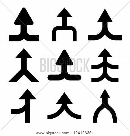 Merge Arrows Up vector icon set. Collection style is black flat symbols on a white background. Merge Arrows Up icons.