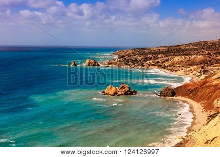 Seascape with Petra tou Romiou, also known as Aphrodite's Rock, is a sea stack in Paphos, Cyprus.