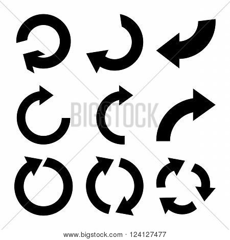 Rotate Clockwise vector icon set. Collection style is black flat symbols on a white background. Rotate Clockwise icons.